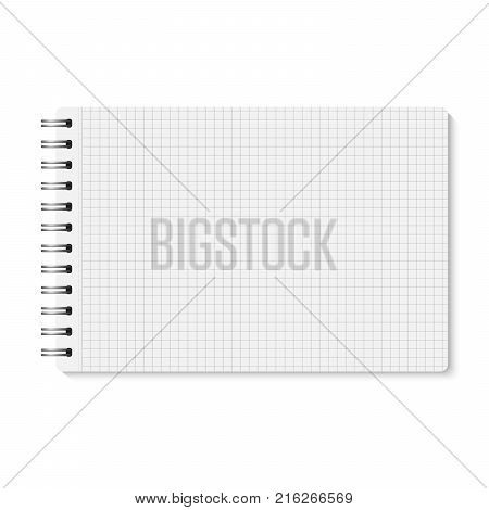 Vector white realistic opened spiral bound notebook. Horizontal blank copybook with metallic silver spiral. Template (mock up) of organizer or diary isolated. Horizontal cell lined notepad. A5