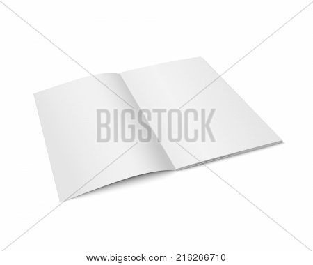 Vector white mock up of magazine isolated. Opened vertical magazine, brochure, book or notebook template on white background. 3d illustration. Diminishing perspective