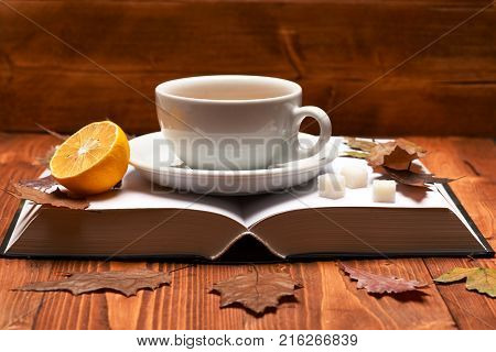 Warm Drink And Home Relax Concept. Tea Cup On Book