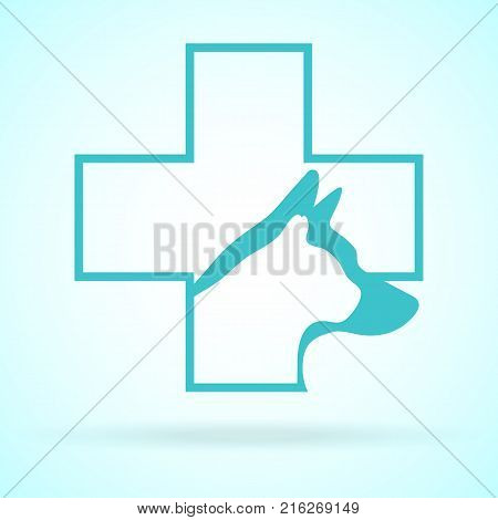 Vector Image Of Pets Design On Background. Petshop, Veterinary, Dog, Cat. Animal Logo Vector Illustration. Logo of Petcare. Vector Logotype Illustration. Creative Concept