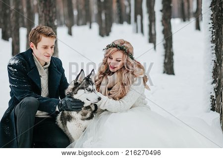 Cheerful couple are playing with siberian husky in snowy forest. Winter wedding Artwork Copy space