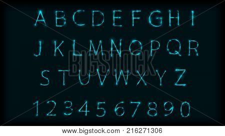 Neon abc letters symbol typeset. Design Roman alphabet and numbers with neon effect. Vector illustration