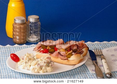 Sub Sandwich With Potato Salad