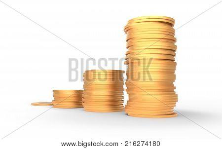 Growing value concept - four growing bitcoin piles. 3D illustration