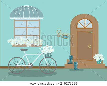 Pretty scenery in a rustic style. House, window with a striped awning, door, stairs,white flowers. Bike and basket of daisies. Rain boots with polka dots. Vector illustration
