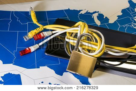 knotted net cable around a padlock over a US map. Suitable for concepts as net neutrality regulations in the USA, Internet Freedom Preservation Act and Open Internet order.