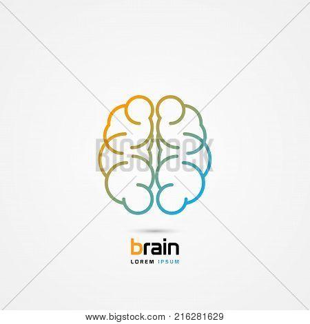 Brain symbol. Line art icon. Creative mind. Vector illustration