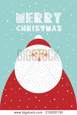 Cute Christmas card featuring Santa Claus in the Scandinavian style. Vector illustration