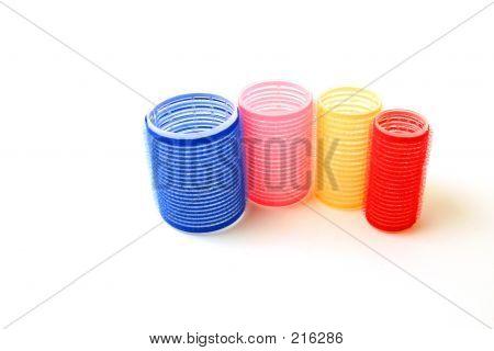 Four Velcro Hair Curlers