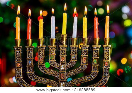 Hanukkah, The Jewish Festival Of Lights Defocused Bokeh, Bokeh Light,