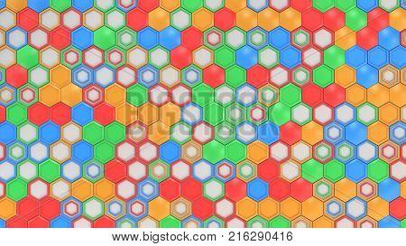 White Hexagons Of Random Size On Blue Background