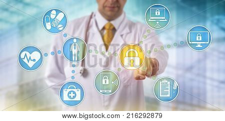 Unrecognizable doctor of medicine securing patient medical records across multiple devices via a computer network. Healthcare IT concept for security of health information exchange and data privacy.