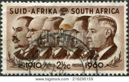 SOUTH AFRICA - CIRCA 1960: A stamp printed in South Africa, is dedicated to the 50th anniversary of the Union of South Africa, show Prime Ministers Botha, Smuts, Hertzog, Malan, Strydom and Verwoerd, circa 1960