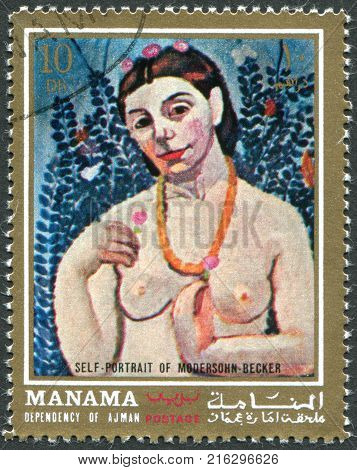 MANANA (AJMAN) - CIRCA 1971: A stamp printed in the Manama, shows the picture of the artist Paula Modersohn-Becker,