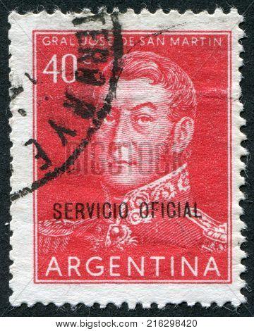 ARGENTINA - CIRCA 1955: A stamp printed in the Argentina, shows a national hero, Jose de San Martin, circa 1955