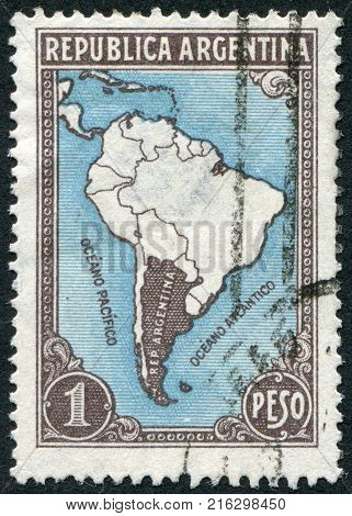 ARGENTINA - CIRCA 1936: A stamp printed in the Argentina, depicts Map of South America, circa 1936