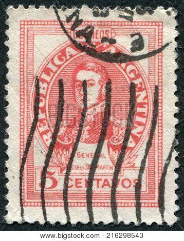 ARGENTINA - CIRCA 1946: A stamp printed in the Argentina, shows a national hero, Jose de San Martin, circa 1946
