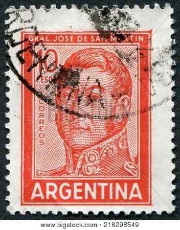 ARGENTINA - CIRCA 1966: A stamp printed in the Argentina, shows a national hero, Jose de San Martin, circa 1966