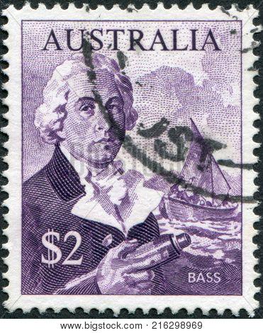 AUSTRALIA - CIRCA 1966: A stamp printed in Australia, shows George Bass, Whaleboat, circa 1966