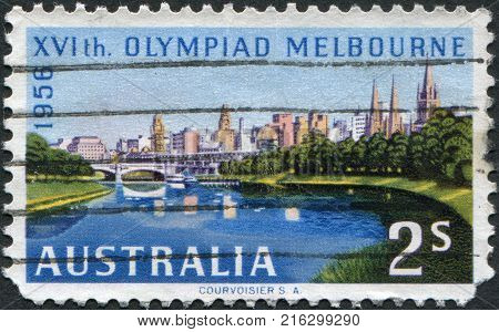 AUSTRALIA - CIRCA 1956: A stamp printed in Australia, is devoted to the Summer Olympics in Melbourne, shows Melbourne across Yarra River, circa 1956