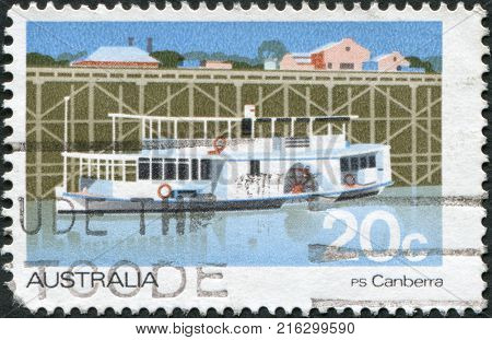 AUSTRALIA - CIRCA 1979: A stamp printed in Australia, shows Passenger Steamer Canberra, circa 1979