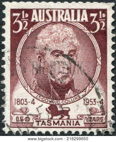 AUSTRALIA - CIRCA 1951: A stamp printed in Australia, shows a 1st Lieutenant Governor of Van Diemen's Land, David Collins, circa 1951