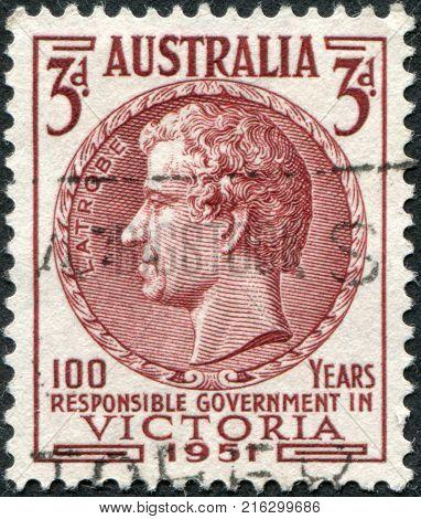 AUSTRALIA - CIRCA 1951: A stamp printed in Australia, shows Charles Joseph La Trobe, circa 1951