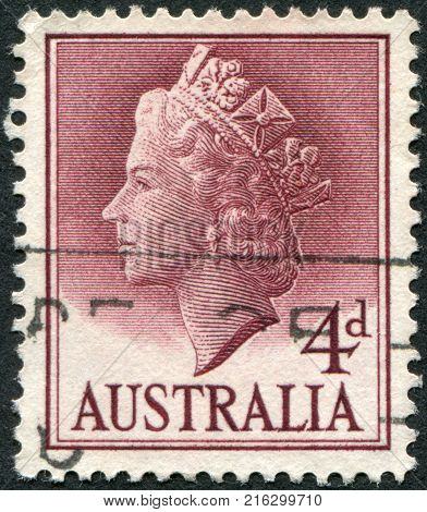 AUSTRALIA - CIRCA 1957: A stamp printed in Australia, shows Queen Elizabeth II, circa 1957