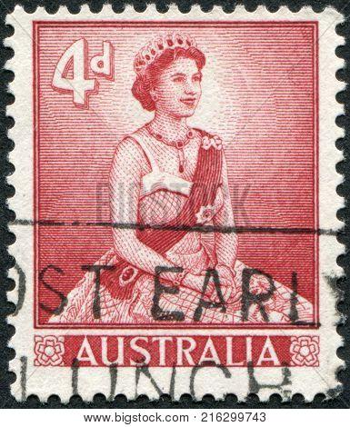 AUSTRALIA - CIRCA 1959: A stamp printed in Australia, shows Queen Elizabeth II, circa 1959