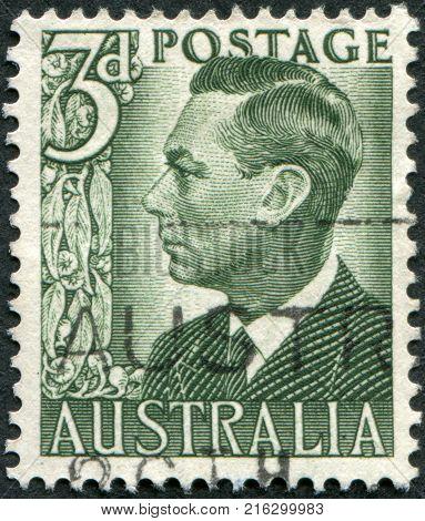 AUSTRALIA - CIRCA 1951: A stamp printed in Australia, depicts King George VI, circa 1951