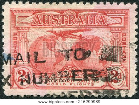 AUSTRALIA - CIRCA 1931: A stamp printed in Australia, is dedicated to Trans-oceanic flights of Sir Charles Edward Kingsford-Smith, depicts
