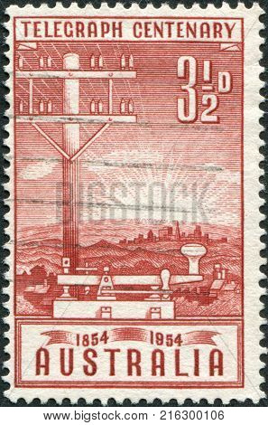 AUSTRALIA - CIRCA 1954: A stamp printed in Australia, is dedicated to Inauguration of the telegraph in Australia, shows a Telegraph Pole and Key, circa 1954