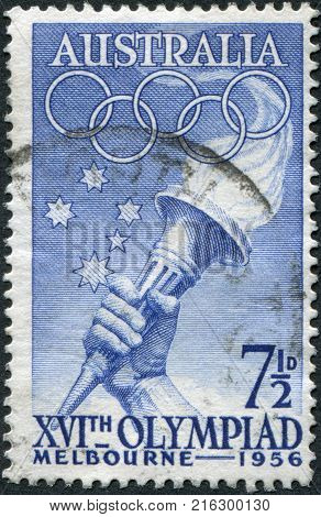 AUSTRALIA - CIRCA 1956: A stamp printed in Australia, is devoted to the Summer Olympics in Melbourne, shows Southern Cross, Olympic Torch, circa 1956