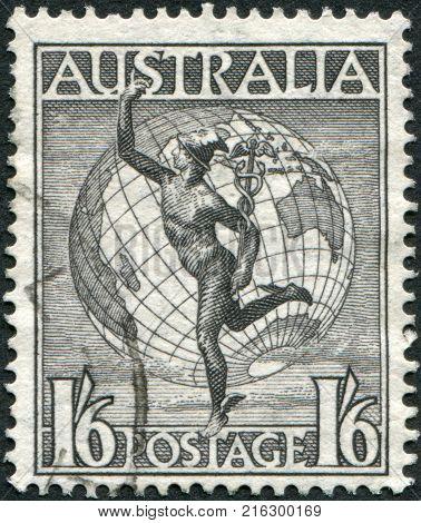 AUSTRALIA-CIRCA 1949: A stamp printed in Australia, shows Hermes and the Globe, circa 1949