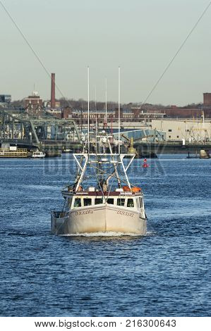 Fairhaven Massachusetts USA - November 30 2017: Fishing vessel Endurance on Acushnet River in Fairhaven