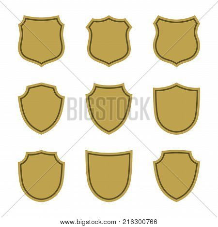 Shield shape gold icons set. Simple flat logo on white background. Symbol of security, protection, safety, strong. Element badge for protect design emblem decoration. Vector illustration