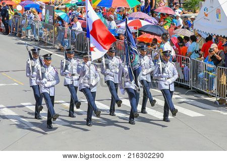Boquete Panama November 2017 this is a month of great celebrations in Panama. These soldiers are marching with bayonets in great parades to celebrate the Panama Indipendence day from Spain.