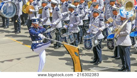 Boquete Panama November 2017 this is a month of great celebrations in Panama. Soldiers are marching in great parades while muusic band is playing to celebrate the Panama Indipendence day from Spain.