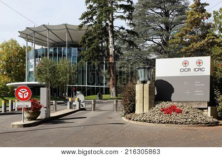 Geneva, Switzerland - October 1, 2017: ICRC office building and headquarters. The International committee of the red cross also called ICRC is a humanitarian institution based in Geneva, Switzerland