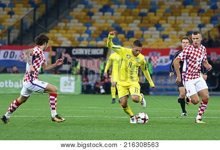 KYIV, UKRAINE - OCTOBER 9, 2017: Marlos of Ukraine (in Yellow) controls a ball during FIFA World Cup 2018 qualifying game against Croatia at NSC Olimpiyskyi stadium in Kyiv, Ukraine