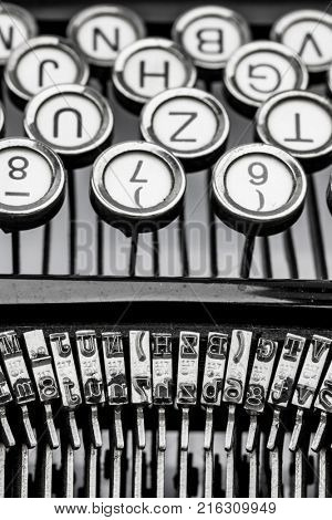 keyboard of a typewriter