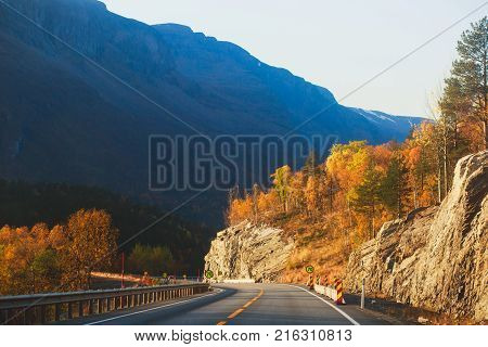 Beautiful Vibrant Fall Autumn Landscape Of National Park Near Border Of Finland, Sweden And Norway,