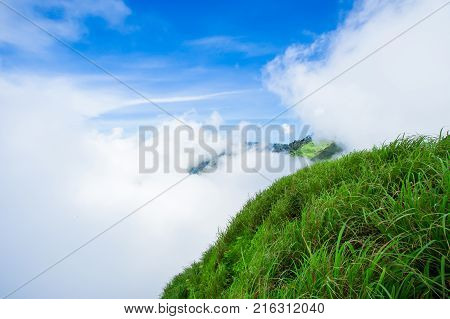 Summer mountain landscape. Mountain path. Landscape with mountains and green hills with blue sky and clouds. Carpathian Mountains