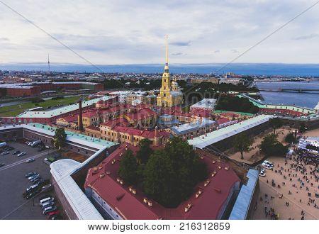 Beautiful Aerial Morning View Of Saint-petersburg, Russia, The Vasilievskiy Island At Sunrise, Isaac