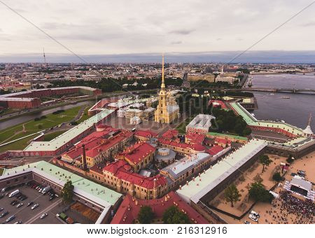 Beautiful Aerial Morning View Of Saint-petersburg, Russia, The Vasilievskiy Island At Sunrise, Isaac