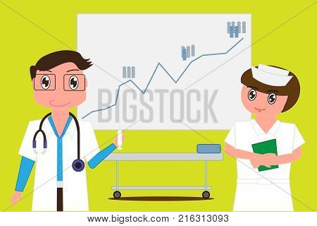 Doctor holds syringe and nurses have files in their hands on background as a statistics board Increased disease statistics of the population and empty space for text. - Vector illustration eps 10