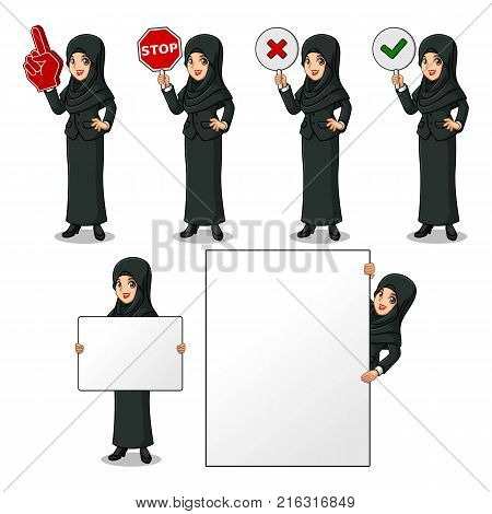 Set of businesswoman in black suit with veil holding a blank empty sign board banner billboard card poster, number one big foam hand finger, stop, right correct yes and wrong no signs.