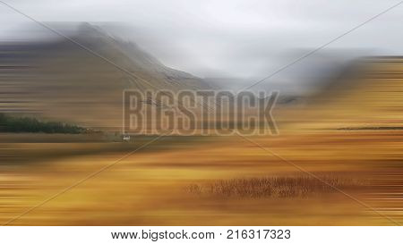 Abstract image of Glencoe motion with one house in focus.