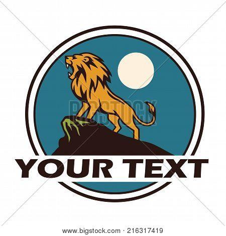 Lion Roaring Under the Moon. Logo Vector Illustration