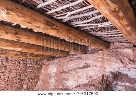 Manitou Springs CO/USA - September 9 2016: A view of the interior beams inside the Manitou Cliff Dwellings in Manitou Springs Colorado.